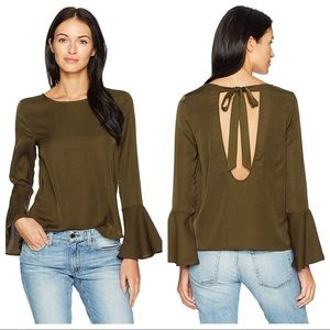Lucca Couture Deborah Trumpet Sleeve Bow Back Top